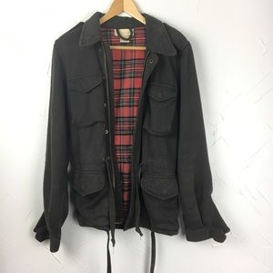 Torn Navy Plaid Lined Utility Jacket
